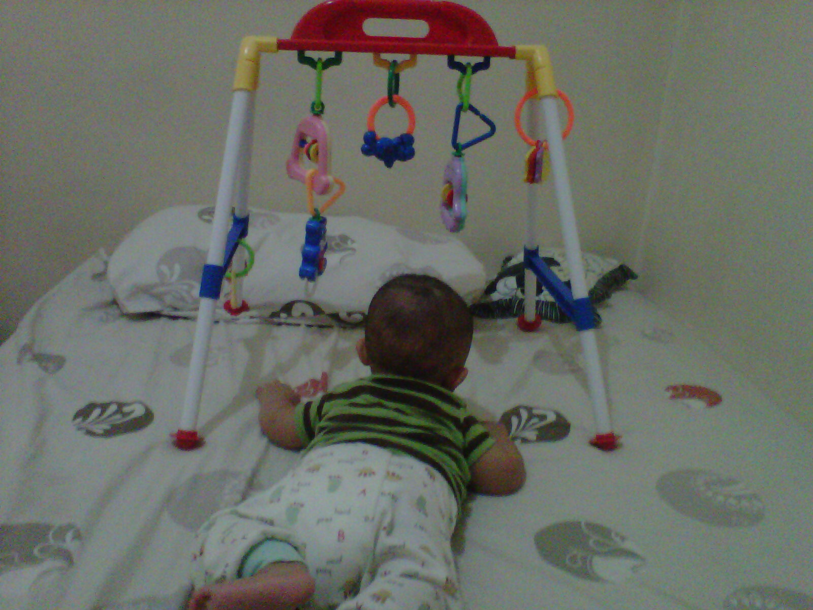 Baby gym ini pemberian nenek ibuku Sejak alzam usia 2 bulan dikasih kado oleh nenek inih Kata ibu nenek biar alzam punya aktivitas di kasur